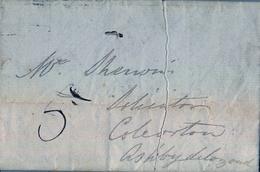 """1838 , GRAN BRETAÑA , CARTA CIRCULADA , AL DORSO MARCA """" TOO LATE """" Y FECHADOR DE LEICESTER - Marcofilia"""
