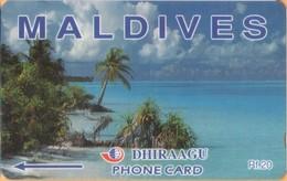 Maldives - GPT, Coconut Palms, Maldives, Beaches, 68MLDA, 2000, Used - Maldiven
