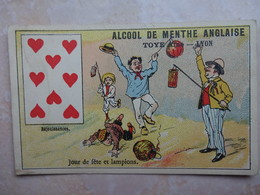 Chromo Alcool De Menthe Anglaise - Carte à Jouer 8 Coeur Troyes Lyon - Chromos
