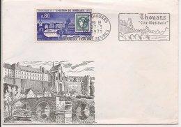 L200A683 - Flamme De Thouars -  Timbre YT 1659 Sur Enveloppe Illustrée - Marcophilie (Lettres)