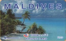 Maldives - GPT, Coconut Palms, Maldives, Beaches, 89MLDA, 2000, Used - Maldiven
