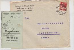 Brief Confiserie & Biscuits-Fabrik Màder & Co, Basel-Birsfelden, 1928 - Suisse