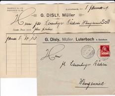Brief Mit Rechnung G. Disly, Müller, Luterbach B. Solothurn, 1919 - Suisse