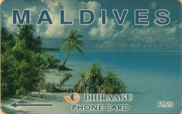 Maldives - GPT, Coconut Palms, Maldives, Beaches, 2MLDA, 5,000ex, 2000, Mint - Maldiven
