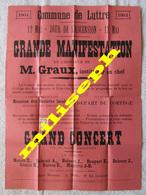LUTTRE Pont-à-Celles 1904 - Manifestation En L'honneur De Mr GRAUX Instituteur - AFFICHE, PHOTO, CANTATE, DISCOURS 4465 - Affiches