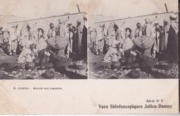 BISKRA MARCHE AUX LEGUMES VUES STEREOSCOPIQUESS JULIEN DAMOY SERIE N. 9 AUTENTICA 100% - Cartoline Stereoscopiche