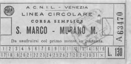 PIE-JmT-19-1661 :  LINEA CIRCOLARE. VENEZIA S. MARCO MURANO   ITALIE. ITALIA. - Titres De Transport
