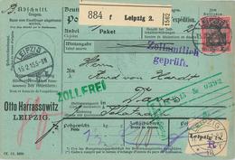 Paketkarte Nach Davos Schatzalp Sanatorium Mann Zauberberg Von Harrassowitz Leipzig über Romanshorn Postzoll 1915 - Germany