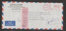EMA AFS METER STAMP FREISTEMPEL RARE 17.10.59 IRAN (PITNEY BOWES CUTTED CROWN ) COMPLETE COVER - Iran