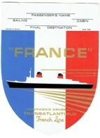 Paquebot France. Etiquette Bagage. French Line. - Boten
