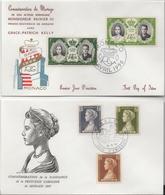 Lot De 2 Enveloppes Commémoratives - Monaco - Caroline - Rainier III - Grace Kelly - Lettres & Documents