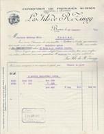 Suisse Facture  Illustrée 23/1/1912 Les Fils De R ZINGG Exportation Fromages Suisses Emmenthal & Gruyères BERNE - Switzerland