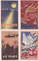 AIR FRANCE Cpa ,  Réseau Aérien Mondial Lot De 9 Cartes Anciennes Affiches Différentes , Aviation - Aviation