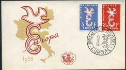1958 Europa C.E.P.T., F.D.C. Belgio - Europa-CEPT