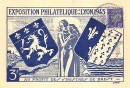 Exposition Philatélique Lyon 1943 Au Profit Des Sinistrés De Brest Pétain Blason - Marcophilie (Lettres)