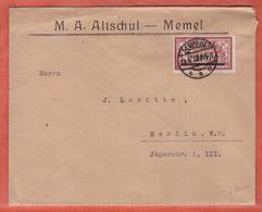 MEMEL LETTRE DE 1922 DE MEMEL POUR BERLIN ALLEMAGNE - Memel (1920-1924)