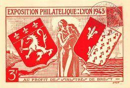 Exposition Philatélique Lyon 1943 Au Profit Des Sinistrés De Brest Iris Blason - Cachets Commémoratifs