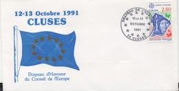 Enveloppe Commémorative De La Remise Du Drapeau D'honneur Du Conseil De L'Europe à La Ville De Cluses (Haute-Savoie) - Autres