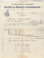 Suisse Facture Illustrée 7/2/1913 Les Fils De Maurice LUSTENBERGER Exportation Fromages Suisses CHAM - Switzerland
