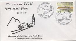 Enveloppe Commémorative De La 1ère Liaison Par TGV Entre Paris Et Le Mont-Blanc (Haute-Savoie) - Autres