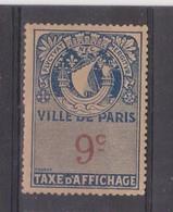 FRANCE  VIGNETTE D'AFFICHAGE PARIX  9 Centimes - Automatenmarke
