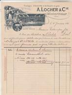 Suisse Facture Illustrée Double Page 4/1/1912 LOCHER Fromages Emmenthal & Gruyère WINTERTHOUR - Switzerland