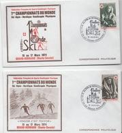Lot De 2 Enveloppes Commémoratives - 1er Championnat Du Monde De Ski Handicapés - Le Grand-Bornand (Haute-Savoie) - Autres