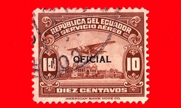 ECUADOR - Usato - 1929 - Aeroplano Sul Lungomare Di Guayaquil - Guayas - Sovrastampato OFICIAL - 10 - P. Aerea - Ecuador