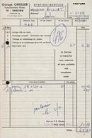 FACTURE GARAGE GRIESSER - CONCESSIONNAIRE CITROEN - SAULIEU - AUCOURT - 29 OCTOBRE 1968 - 1950 - ...