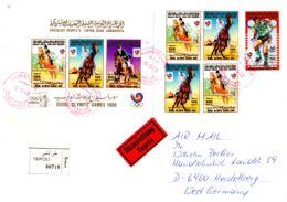 6-10-1988; Lettre Recommandée , Avec Michel Nr. 1806-1808 + BF 117A, + Nr. 1803; Lot 51125 - Libye