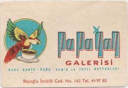 """ISTANBUL - Beyoglu - Carton Publicitaire """"Papagan Galerisi"""" (Galerie Du Perroquet), Café Et Desserts - Factures & Documents Commerciaux"""