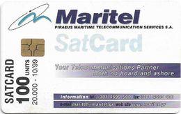 Greece - Maritel - SatCard Satellite, 100Units, 10.1999, 20.000ex, Used - Grecia