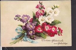 Postkarte  Geburtstag , HWB , Blumen - Controluce
