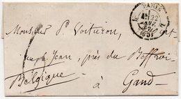 LSC - BELGIQUE FRANCE - PARIS Vers GAND - 1862 - FRANCE PAR MOUSCRON- AA6 - Marcophilie