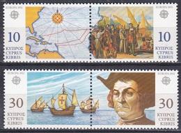 Zypern Cyprus 1992 Europa CEPT Geschichte History Entdeckungen Amerika Kolumbus Columbus Schiffe Ships, Mi. 790-3 ** - Zypern (Republik)
