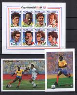 Nicaragua 1994 Football Soccer World Cup Sheetlet + 2 S/s MNH - World Cup