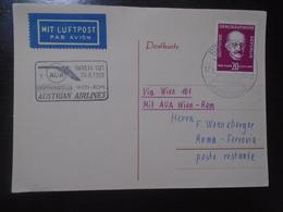 WIEN/VIENNA - ROMA - AUSTRIAN AIRLINES - AUA - 28.06.1953 - First Flight Covers