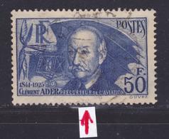 FRANCE N°  398 ° Oblitéré, Used, Petite Déchirure, B (L1224) Clément Ader - 1938 - Frankreich