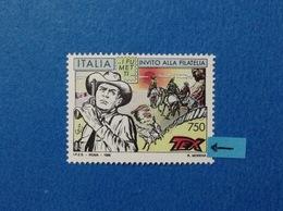 1996 ITALIA FRANCOBOLLO NUOVO STAMP NEW MNH** FUMETTI TEX VARIETA' COLORE ROSSO SPOSTATO IN ALTO - 6. 1946-.. República