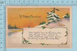 Carte Postale CPA - Happy Christmans- Used Voyagé En 1925  + CND Timbre, Send To Brinston Ont. - Cartes Postales