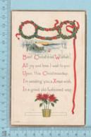 Carte Postale CPA - Wishes Christmans- Used Voyagé En 1923  + CND Timbre, Send ToNeedham Mass - Cartes Postales