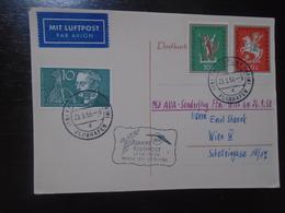 SONNDERFLUG FRANKFURT - WIEN/VIENNA - AUSTRIAN AIRLINES - AUA - 23.9.1958 - First Flight Covers