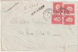 ESC 6F Dulac Recommandé Provisoire Le Pouliguen  Loire Inférieure 1945 - Marcophilie (Lettres)