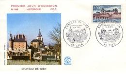 FRANCE 1758 FDC Enveloppe Premier Jour Château De Gien Schloss Castle Castillo - 1970-1979