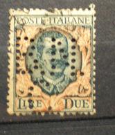 """065 - ITALIA - REGNO - 1923 - """" Floreale Lire Due PERFIN """" Viaggiati - Usati"""