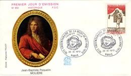 FRANCE 1771 FDC Enveloppe Premier Jour Dramaturge Comédien Jean-Baptiste POQUELIN Dit MOLIERE Théatre Comédie Sganarelle - 1970-1979