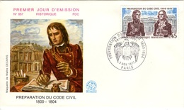 FRANCE 1774 FDC Enveloppe Premier Jour Napoléon Bonaparte Code Civil - 1970-1979