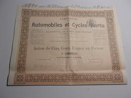 AUTOMOBILES ET CYCLES HURTU (500 Francs) 1899 - Actions & Titres