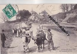 CPA - 39 - CERNANS (Jura 650m) - Le Chantier De Bois Très Beaux Attelages De Boeufs Pour Le Transport Du Bois 1910 - Autres Communes