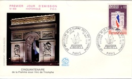 FRANCE 1777 FDC Enveloppe Premier Jour Arc De Triomphe Flamme Soldat Inconnu PARIS 1973 Napoléon Bonaparte - 1970-1979